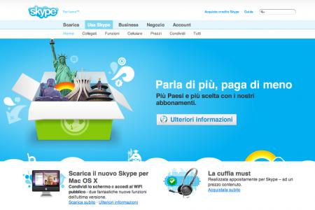 Sito Skype con l'immagine del nuovo iMac?