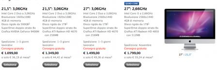nuovi iMac tabella prezzi (clicca per ingrandire)