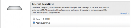 Opzione Superdrive esterno del MacBook Air