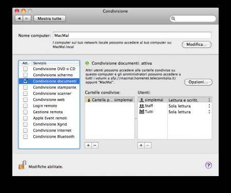 Preferenze di Sistema / Condivisione / Condivisione Documenti