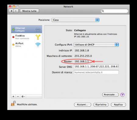 Identificare l'indirizzo IP del router