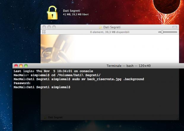 Ecco le righe dal terminale che permettono di rinominare un file e nasconderlo