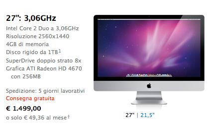 Versione di iMac base da 27