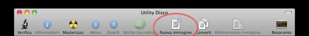 Creare una nuova immagine DMG tramite Utility Disco