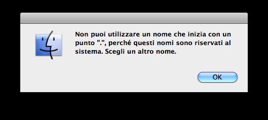 Errore nel modificare il nome di un file aggiungendo un punto all'inizio per nasconderlo