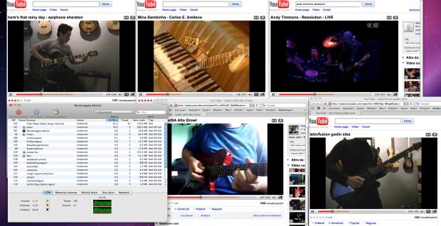 Nessun problema riproducendo contemporaneamente 6 video flash di youtube