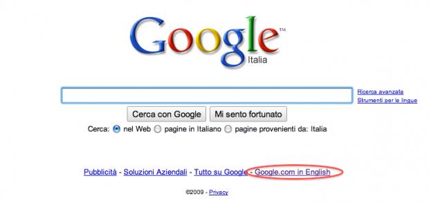 Selezionare versione inglese di google