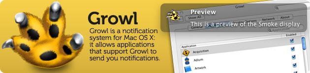 growl sistema di notifica integrato in osx e compatibile con molte applicazioni