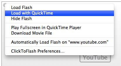 scegli quicktime per visualizzare i video di youtube
