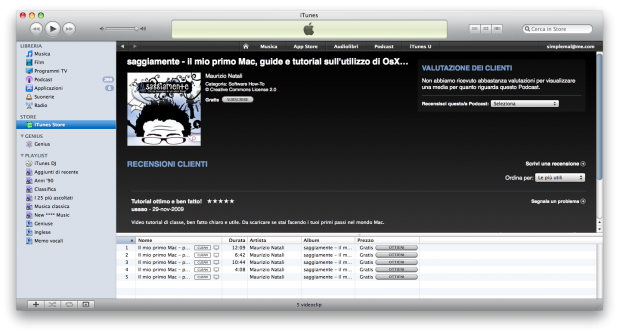 PodCast video corso mac snow leopard su itunes