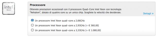 Opzione nuovo processore Intel Xeon 3,33Ghz