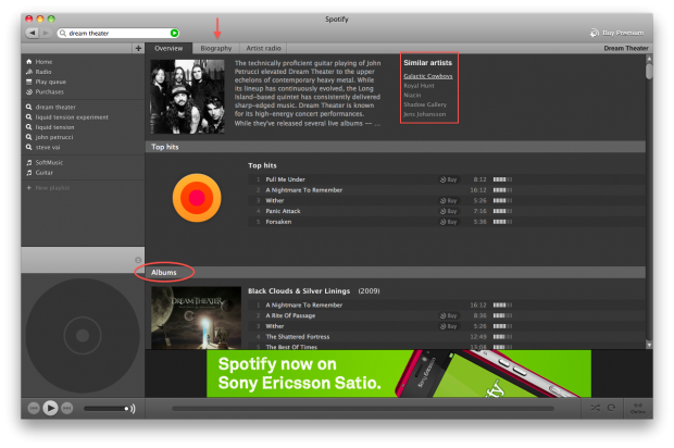 interfaccia di spotify