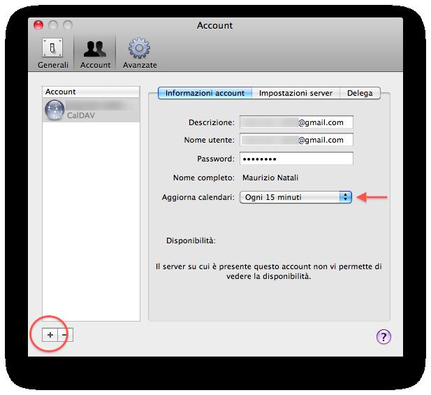 sincronizzare i contatti di google calendar con ical