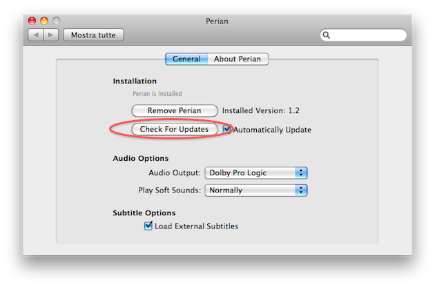 codec aggiornamento perian 1.2 mac