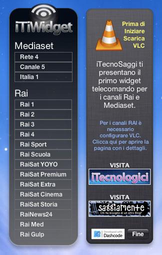 iTiWidget istruzioni per la visione dei canali rai e mediaset gratuitamente sul mac