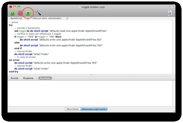 eseguire apple script per visualizzare i file nascosti
