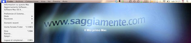 Accedere alla barra dei menu con la tastiera del Mac