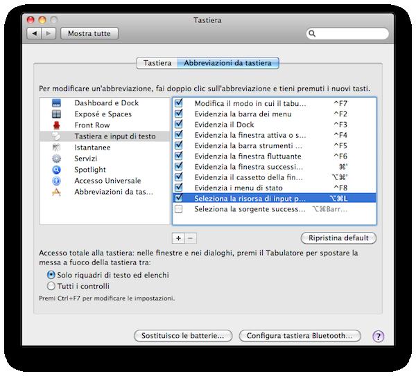impostare una scorciatoia da tastiera per modificare il layout lingua