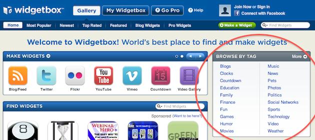 aggiungere un widget ad iweb