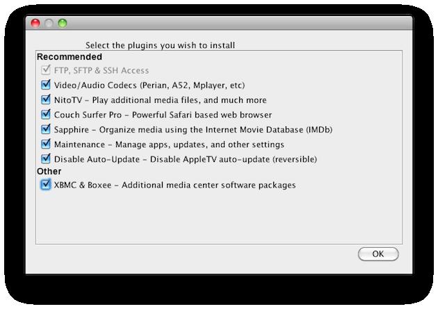 componenti da installare con atv flash per sbloccare la Apple TV