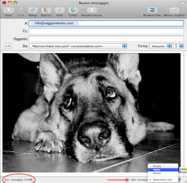 ridimensionamento automatico immagini allegate in email con Mail