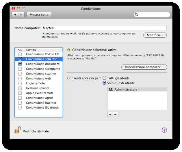 abilitare la condivisione dello schermo su mac osx