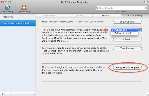 mac pubblicare e notificare una sitemap ai principali motori di ricerca, compreso google