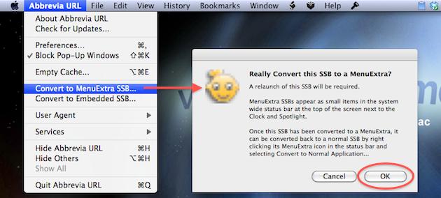 convertire applicazione di fluid in una icona nella barra dei menu