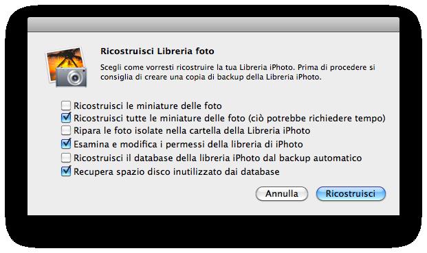 ricostruire libreria iphoto