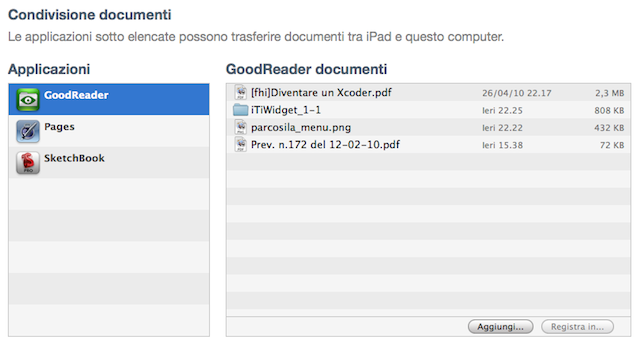 Condivisione Documenti iPad