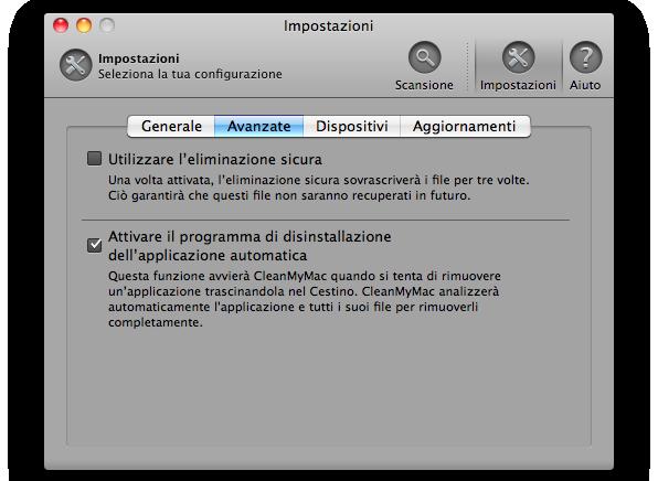 disinstallazione automatica della applicazioni sul mac