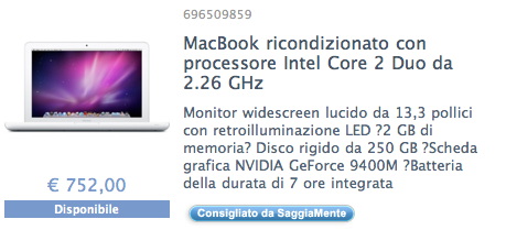 macbook bianco in offerta