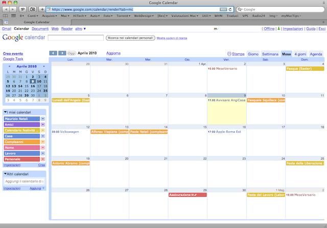 sincronizzazione su google calendar