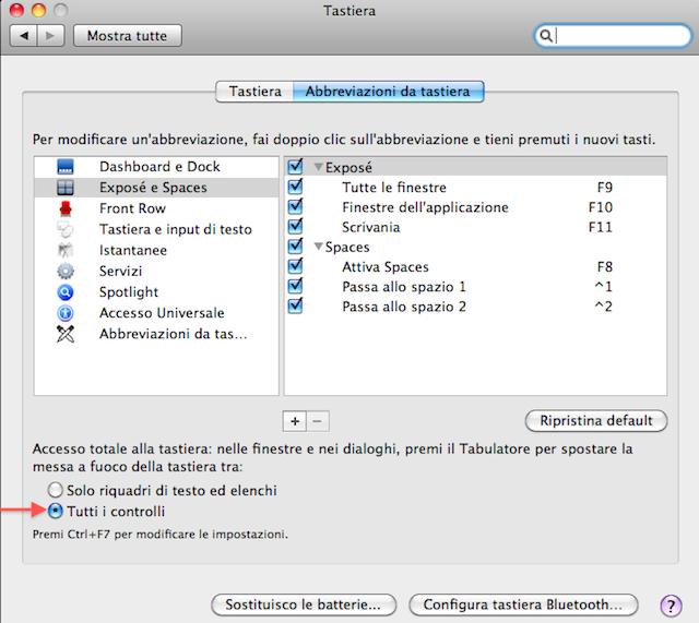 usare attivare il tasto tab nelle finestre di dialogo