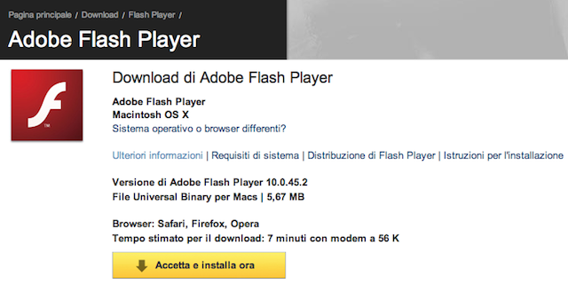 aggiornamento flash player