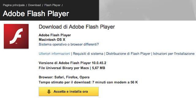 aggiornamento flash player