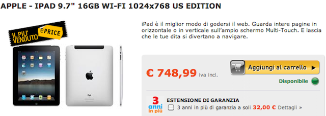 iPad in ItaIia