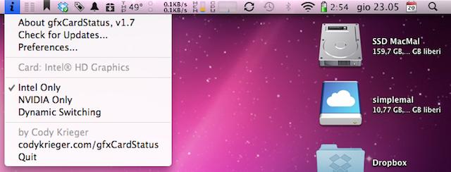 usare solo la INTEL HD Graphics nel nuovo MacBook Pro 2010