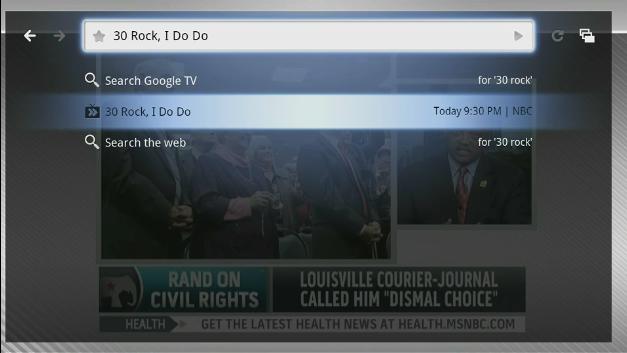 google tv ricerca programmi