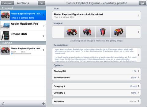 garagesale per ipad gestione aste mac ebay