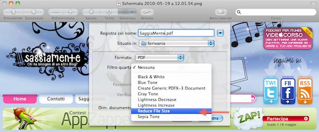 ridurre la dimensione di un pdf con anteprima
