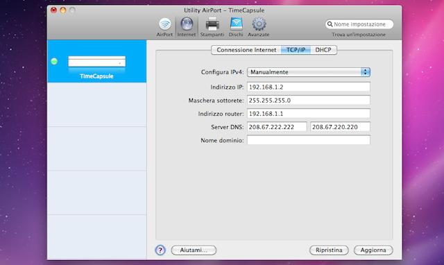 configurazione ip timecapsule