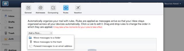mail filtro spam regole