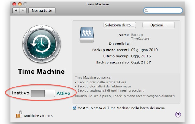 attivare Time Machine