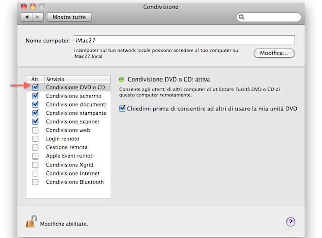 condividi cd e dvd su macbook non air