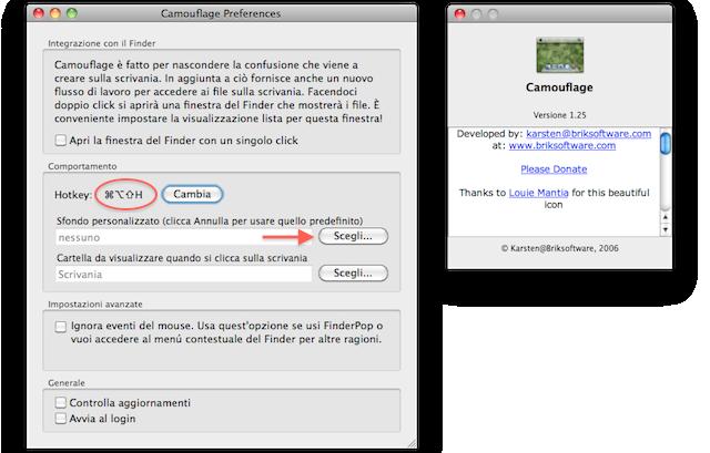 camounflage nasconde icone mac scrivania
