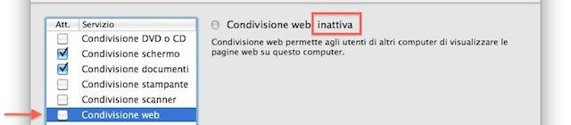 disattivare condivizione web
