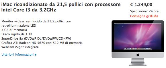 iMac 21,5 core i3 offerta