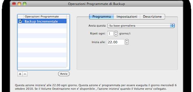 programmazione backup