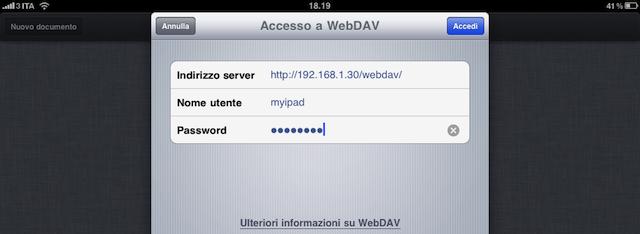 settaggio webdav